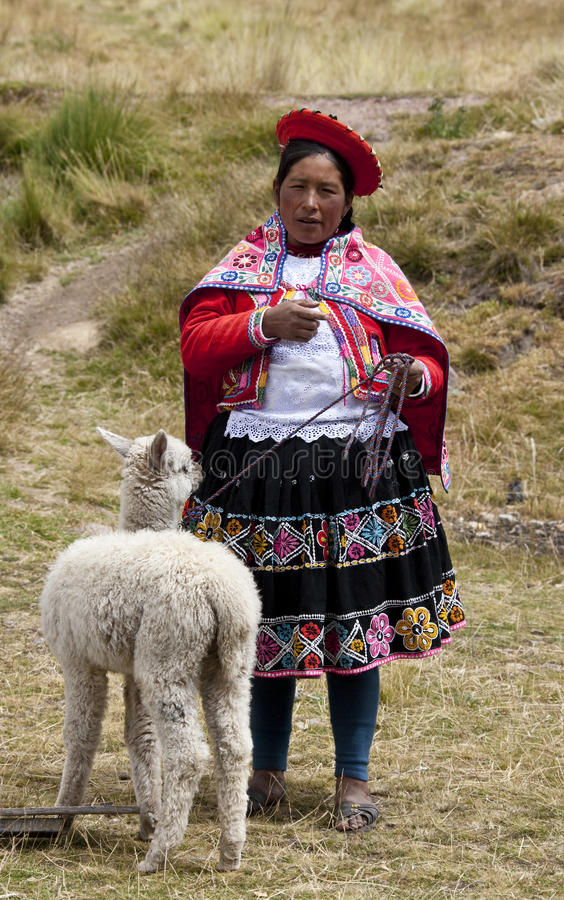 Download Peru - Local Woman With Alpaca Editorial Photography - Image: 20016602