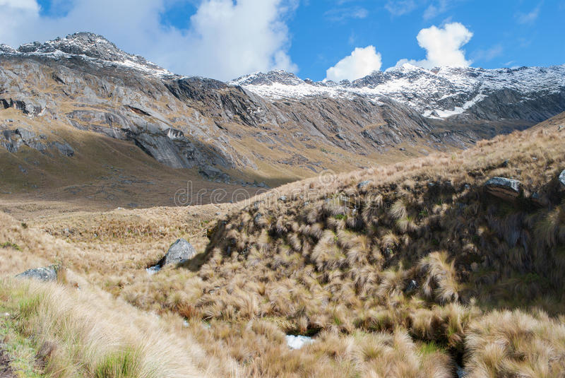 Peru - Look from Cordillera Blanca in the Andes from trek of santa Cruz. royalty free stock photos