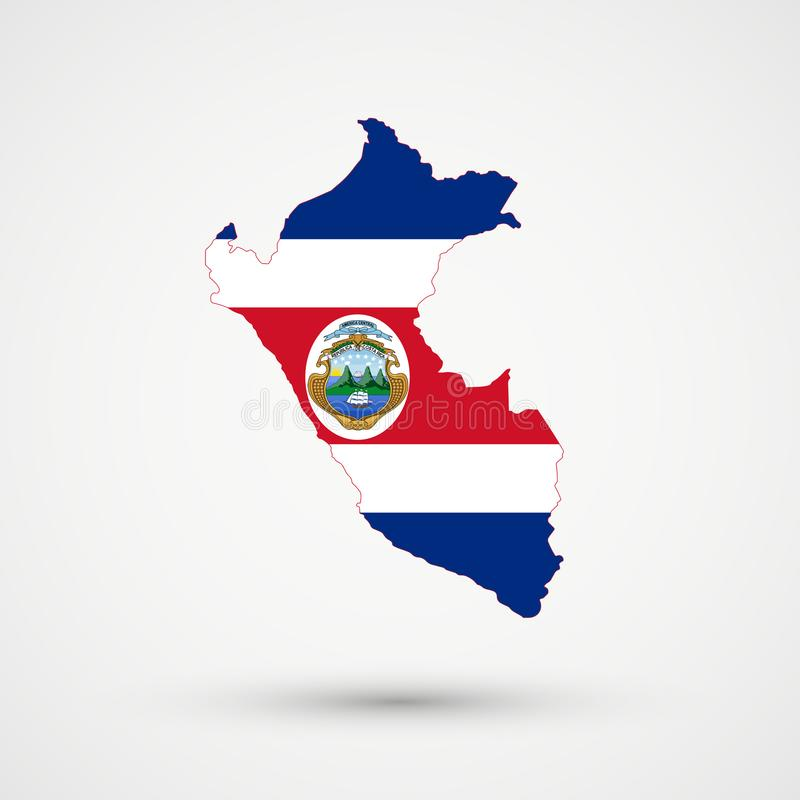 Peru map in Costa Rica flag colors, editable vector stock illustration