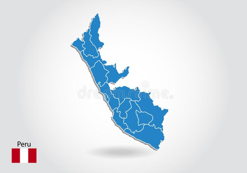 Peru map design with 3D style. Blue Peru map and National flag. Simple vector map with contour, shape, outline, on white vector illustration