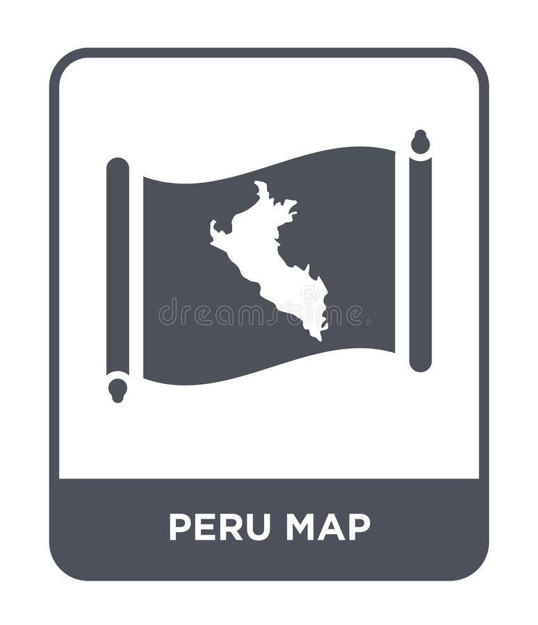 Peru map icon in trendy design style. peru map icon isolated on white background. peru map vector icon simple and modern flat. Symbol for web site, mobile, logo stock illustration