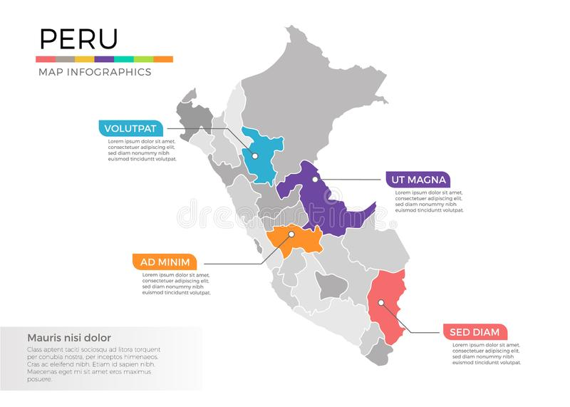 Peru map infographics vector template with regions and pointer marks. Peru map info-graphics vector template with regions, districts, state, country isolated in stock illustration