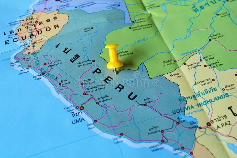 Peru map. Macro shot of peru map with push pin stock images
