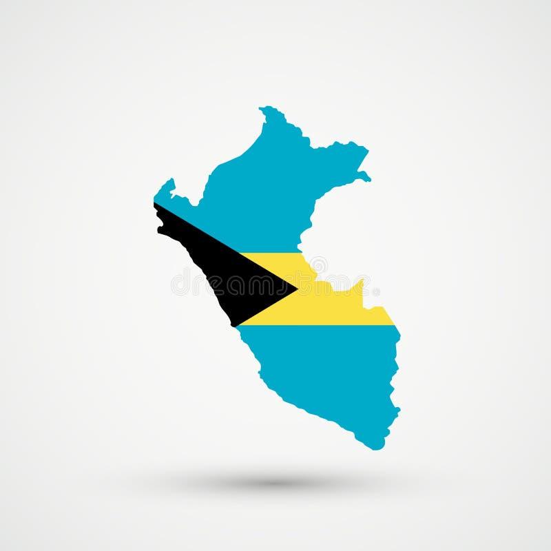 Peru mapa w Bahamas flagi kolorach, editable wektor royalty ilustracja