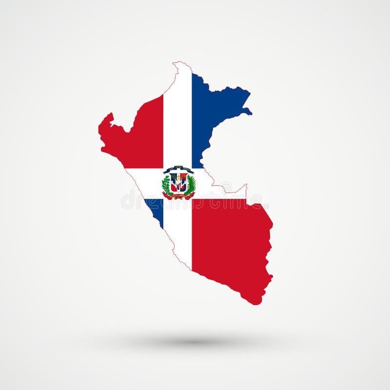 Peru mapa w republiki dominikańskiej flagi kolorach, editable wektor ilustracji