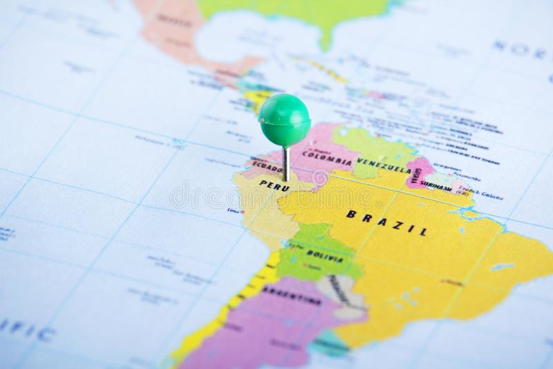 Peru pinned at the map of South America. Peru marked at the political administrative map royalty free stock images