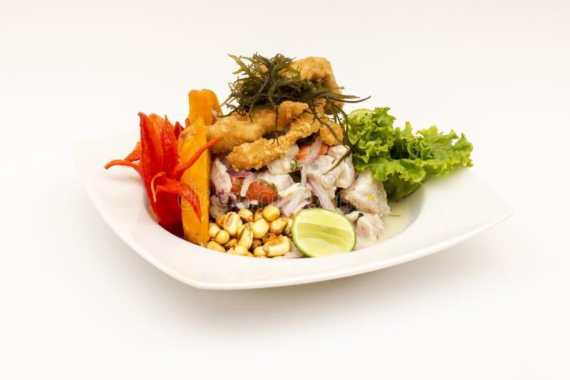 PERU MATRÄTT: Cebiche (ceviche) och chicharron med löken som kallas Caretillero royaltyfri foto