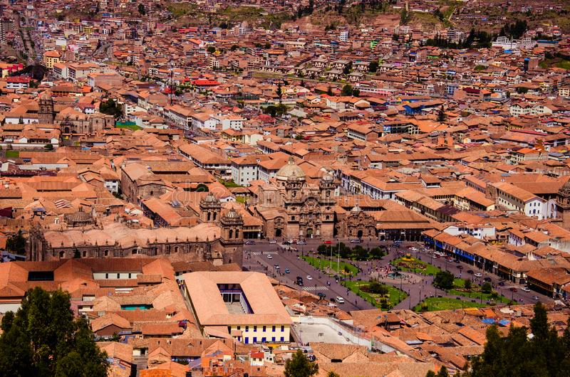 Peru, May, Cusco, aerial view, city-scape, rooftops, churches, homes. Peru, May, Cusco, taken from hillside high above Cusco, aerial view of city, city-scape royalty free stock photo