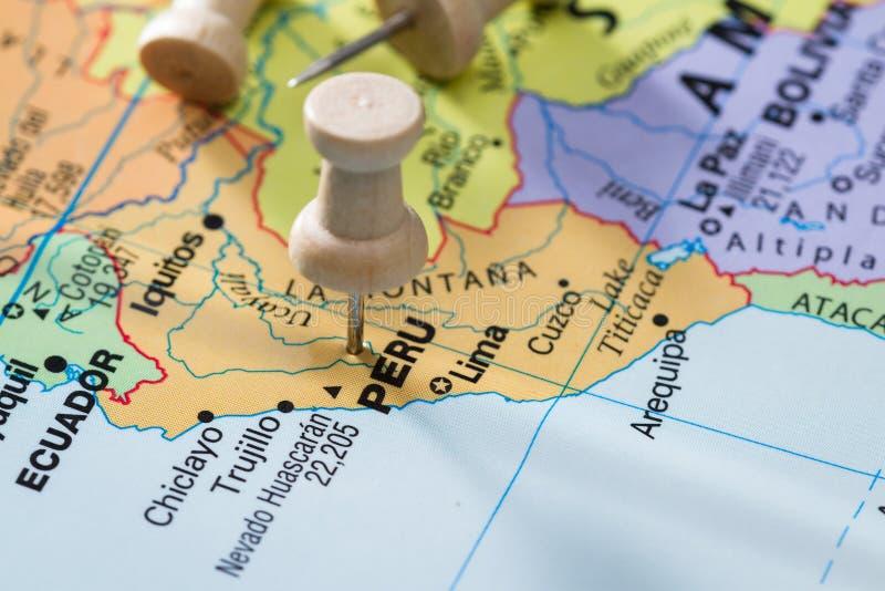 Peru merkte op een kaart stock afbeelding