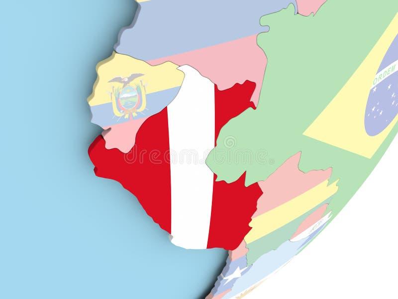 Peru met vlag royalty-vrije illustratie