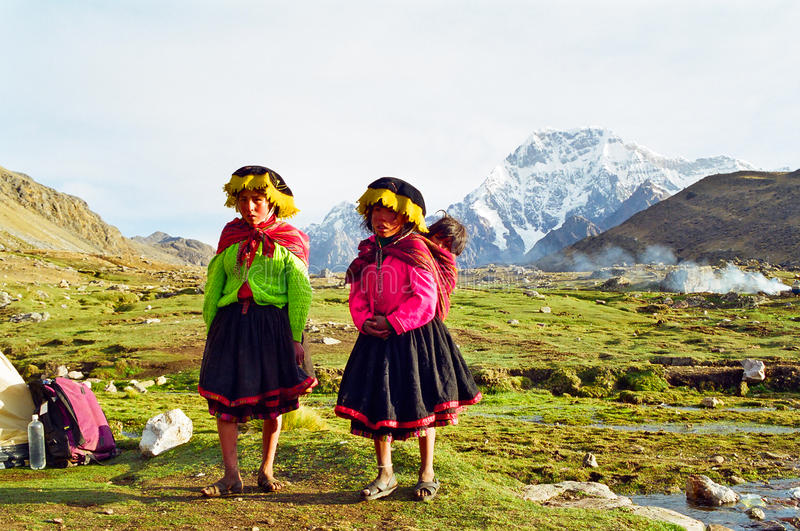 Peru Mountain Children stock images