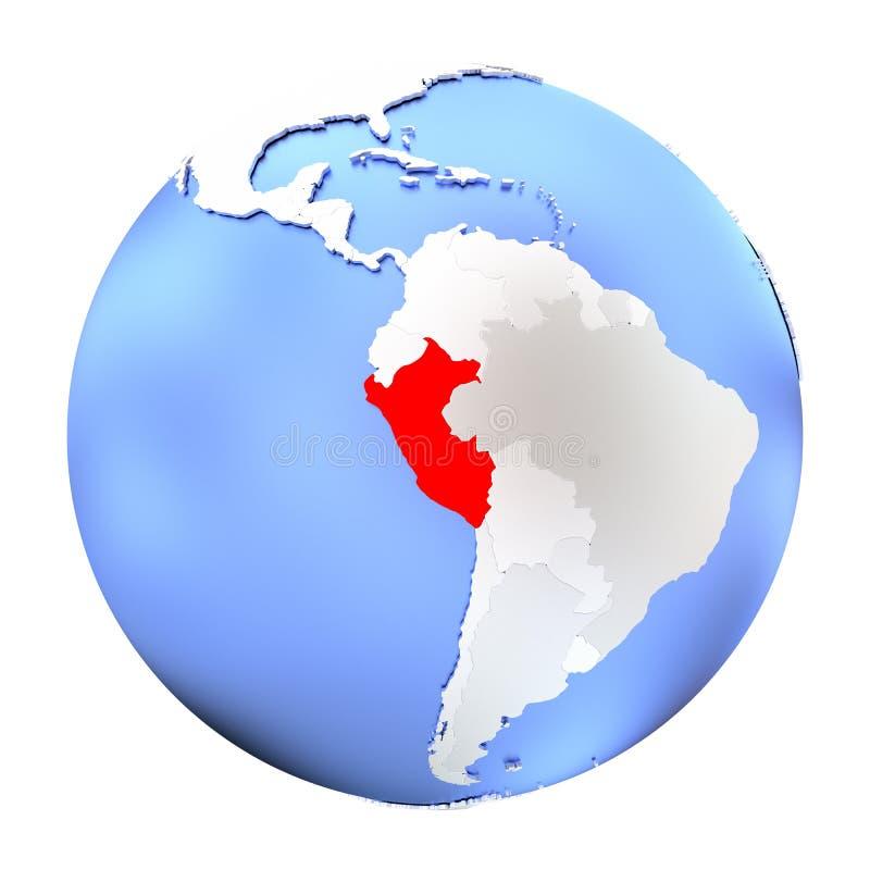 Peru op geïsoleerd metaalbol royalty-vrije illustratie