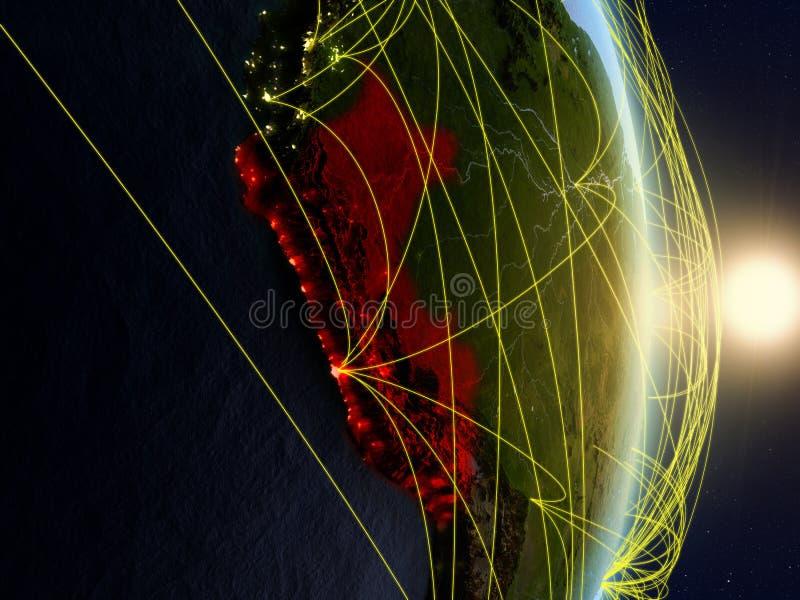 Peru op genetwerkte aarde stock fotografie