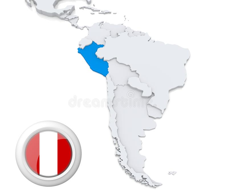 Peru på en översikt av Sydamerika stock illustrationer