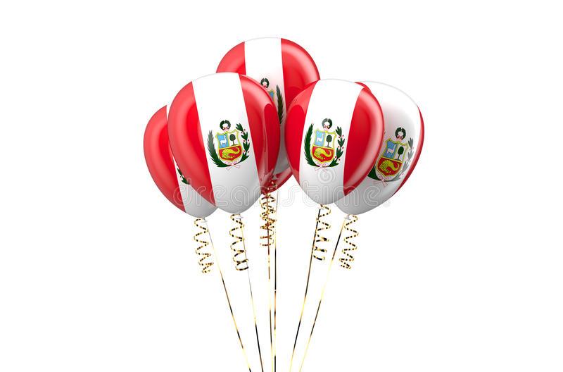 Peru patriotic balloons, holyday concept. Isolated on white background stock illustration