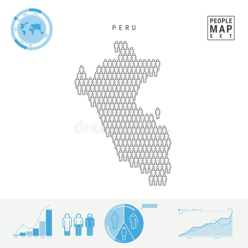 Peru People Icon Map Silueta estilizada del vector de Perú Crecimiento demográfico y envejecimiento Infographics libre illustration