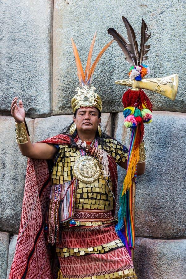 Peru peruano de Andes Cuzco do guerreiro do Inca do homem fotos de stock royalty free