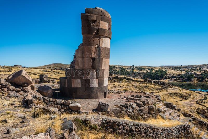 Peru peruano de Andes Puno dos túmulos de Silustani fotografia de stock