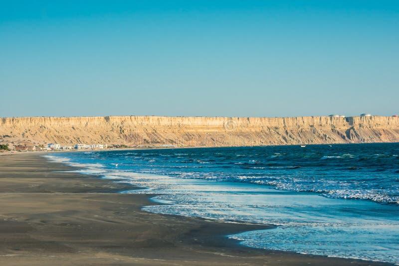 Peru peruano de Piura da costa da praia de Colan fotografia de stock