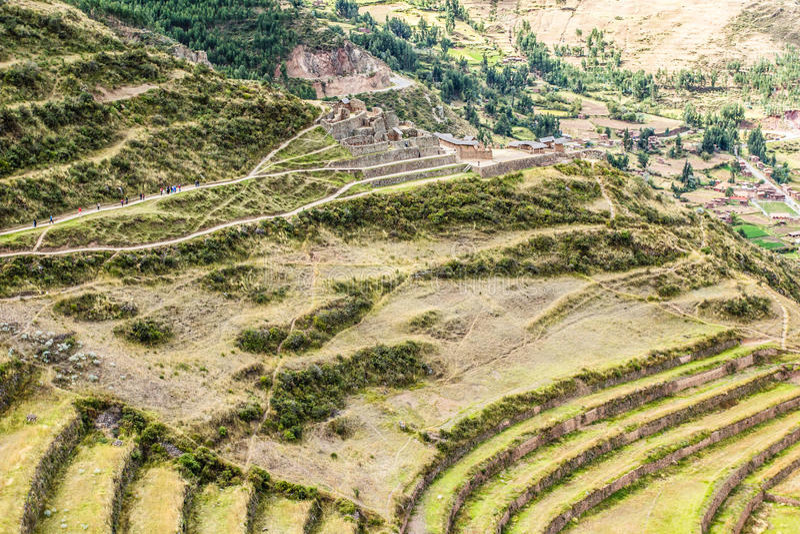 Peru, Pisac (Pisaq) - Inca-ruïnes in de heilige vallei in de Peruviaanse Andes royalty-vrije stock foto's