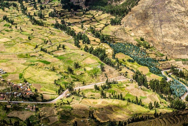 Peru, Pisac (Pisaq) - Inca-ruïnes in de heilige vallei in de Peruviaanse Andes royalty-vrije stock fotografie
