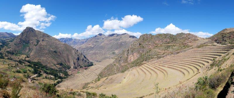 Peru, Pisac Pisaq - Inca-ruïnes in de heilige vallei in de Peruviaanse Andes royalty-vrije stock foto's