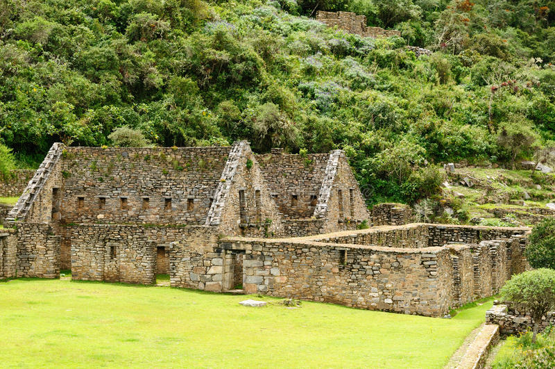 Peru, ruínas remotas do Inca de Choquequirau imagens de stock