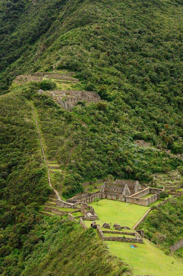 Peru, ruínas remotas do Inca de Choquequirau perto de Cuzco fotos de stock