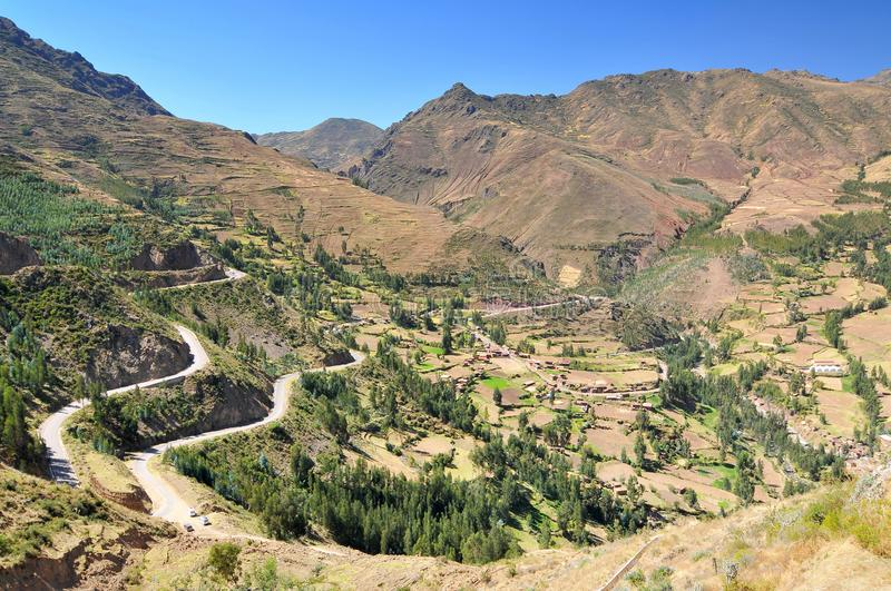 Peru, the Sacred Valley of the Incas, valley in the andes of peru, close to the Inca capital of Cusco and below the ancient Sacred stock image
