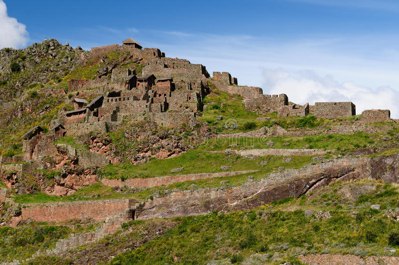Peru, Sacred Valley, Pisaq Inca ruins stock image