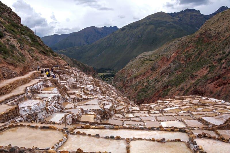 Peru, Salinas de Maras, Pre Inca traditional salt mine (salinas royalty free stock image