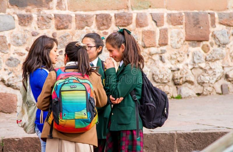 Peru Schoolgirls stock photo