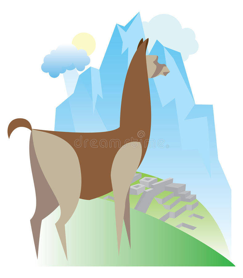 Peru is the symbol Lama royalty free illustration