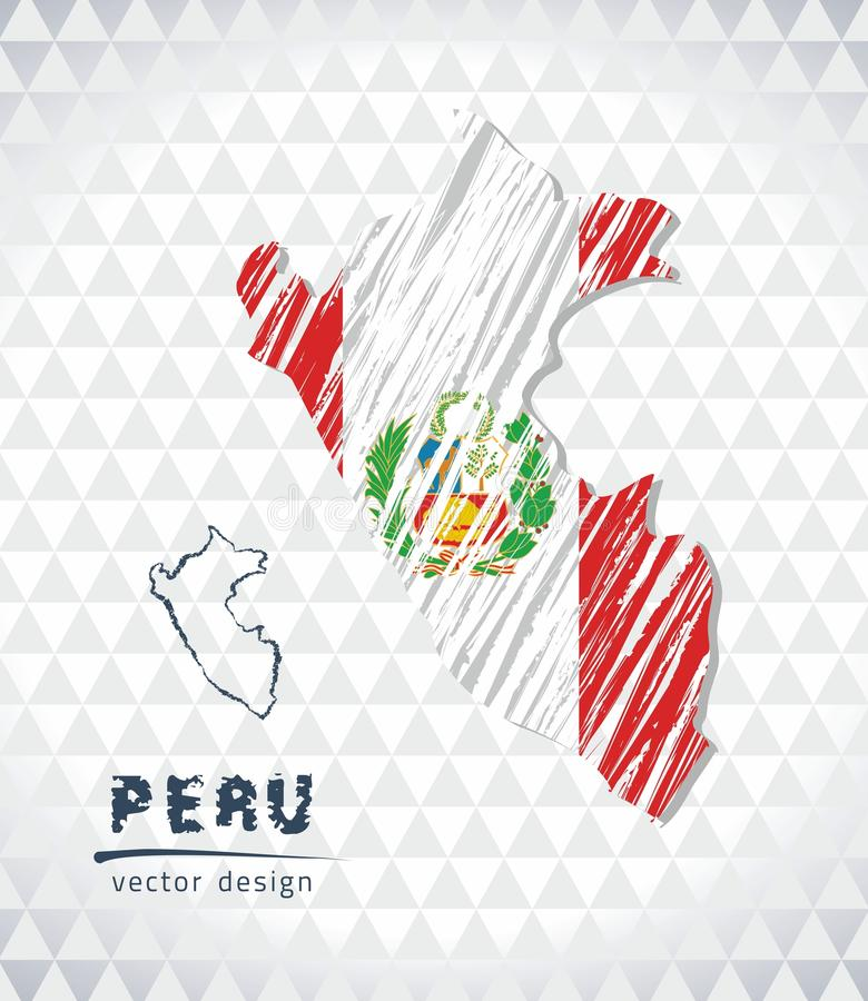 Peru vector map with flag inside isolated on a white background. Sketch chalk hand drawn illustration. Vector sketch map of Peru with flag, hand drawn chalk royalty free illustration