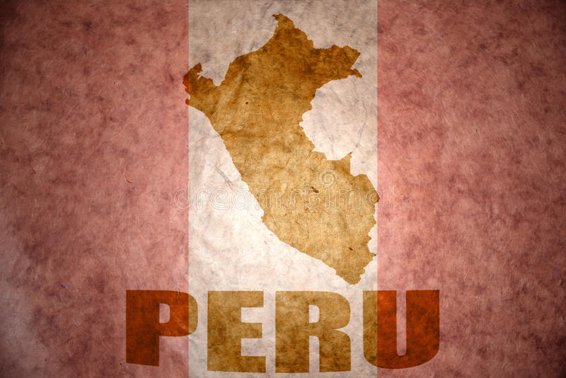Peru vintage map. Peru map on a vintage peruvian flag background royalty free stock photos