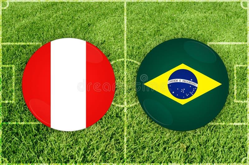 Peru vs den Brasilien fotbollsmatchen stock illustrationer