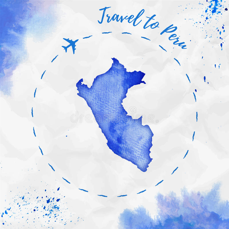 Peru Watercolor Map In Blue Colors Stock Vector Illustration Of - World map silhouette poster
