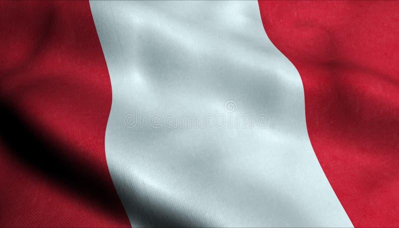 Peru Waving Flag dans 3D illustration de vecteur