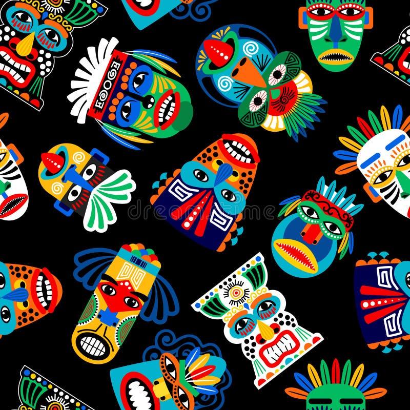 Peru wojownika maski bezszwowy wzór ilustracja wektor