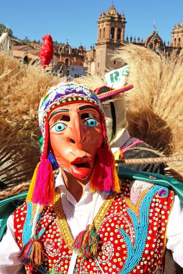 Peruaanse dansers met maskers op de jaarlijkse Fiesta del Cusco, 2019 royalty-vrije stock foto's