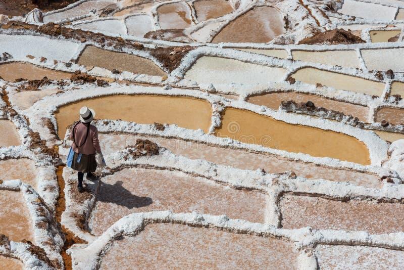 Peruan Anderna Cuzco Peru Maras för salta miner royaltyfria foton