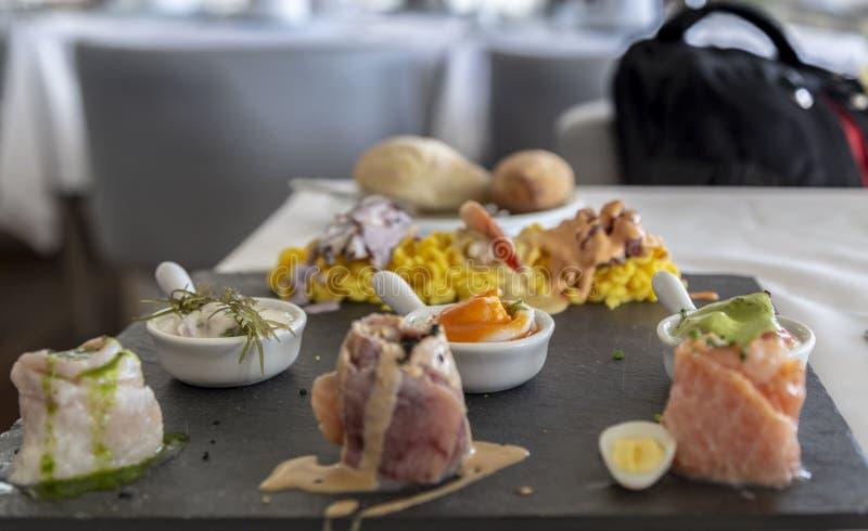 PERUAN CEVICHE SEBICHE, peruansk maträtt, detaljskott, Lima, Peru fotografering för bildbyråer