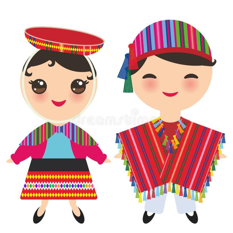 Peruanischer Junge und Mädchen im nationalen Kostüm und im Hut Karikaturkinder im Trachtenkleid lokalisiert auf weißem Hintergrun lizenzfreie abbildung