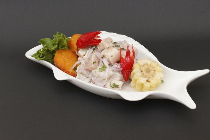 Peruanisches Lebensmittel: ceviche frische rohe Fische lizenzfreie stockfotografie