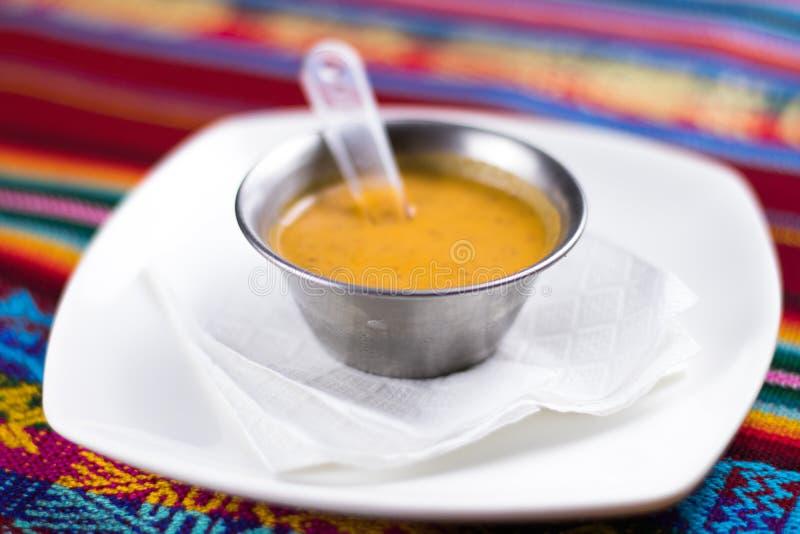 Peruanisches Lebensmittel: Cremas, aji stockfotografie