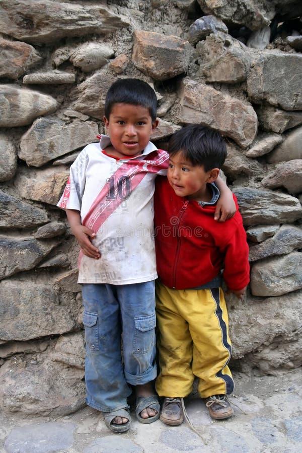 peruanska bröder royaltyfria bilder