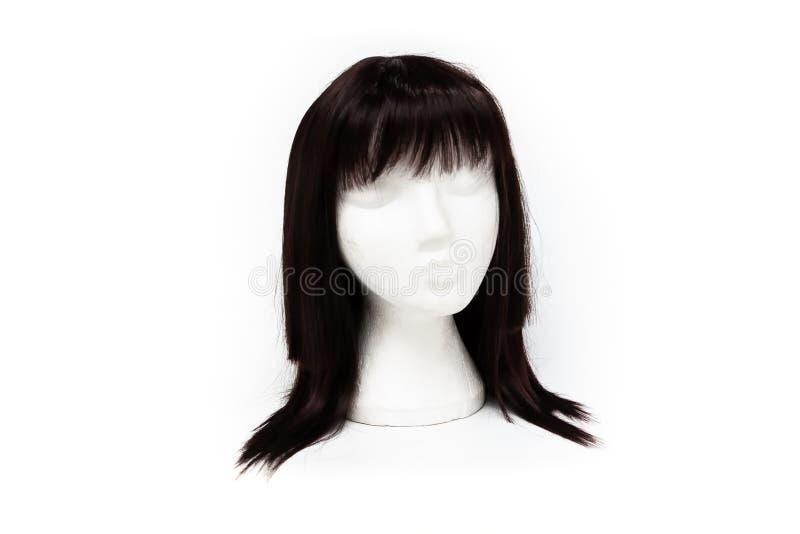 Peruca preta da cor da forma no fundo branco fotografia de stock royalty free