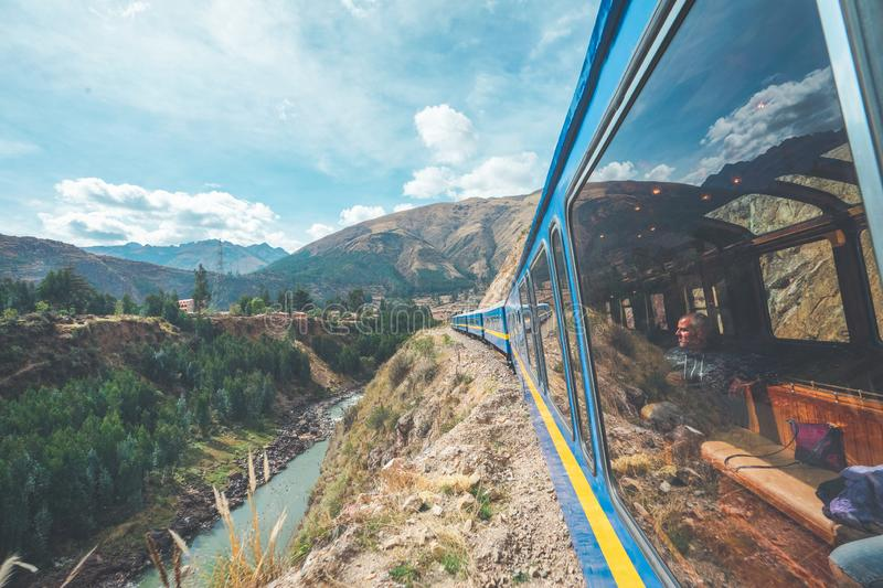 Wonderful view from the Peru Titicaca Train from Cusco to Puno, Peru. royalty free stock photo