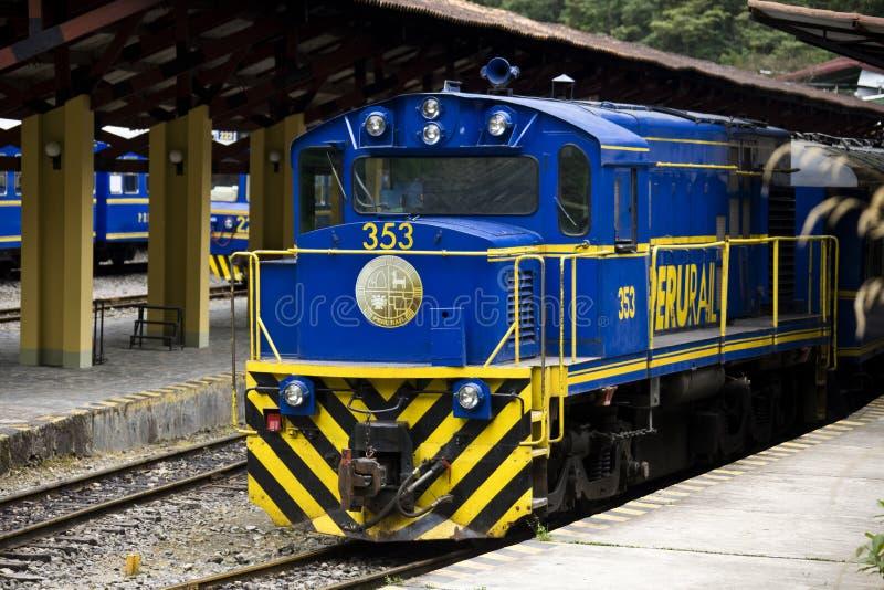 Perurail trains - Machu Picchu railway station - Peru royalty free stock photo