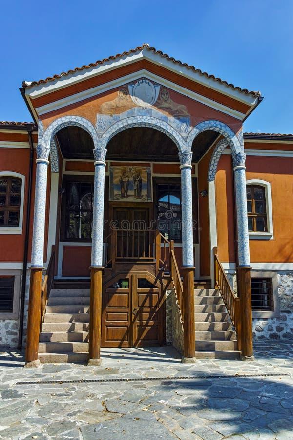 PERUSHTITSA, BULGARIA - SEPTEMBER 4, 2016: The building of Danov School from the 19th century, Perushtitsa, Plovdiv Region stock image